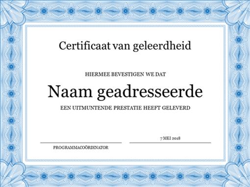 Certificaat voor uitzonderlijke prestaties (met formele blauwe rand)