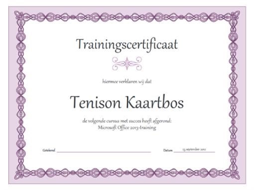 Trainingscertificaat (ontwerp met paarse ketting)