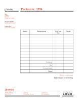 Zakelijke factuur (ontwerp Rood en zwart)