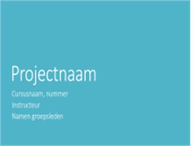 Presentatie van groepsprojecten (stadsthema's, breedbeeld)