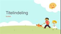 Onderwijspresentatie met spelende kinderen (getekende illustratie, breedbeeld)