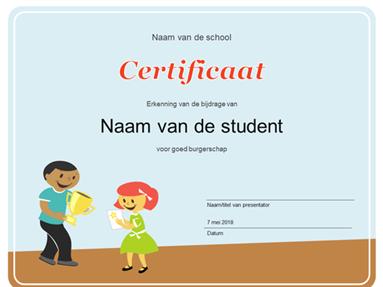 Certificaat (leerlingen van de basisschool)
