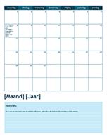Academische kalender van één maand (start op maandag)