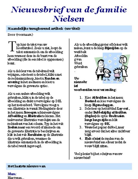 Familienieuwsbrief (2 blz.)