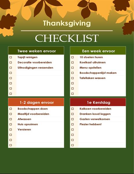 Groene Thanksgiving-checklist