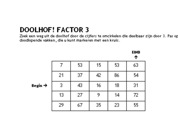 Cijferdoolhof niveau 1, factor 3