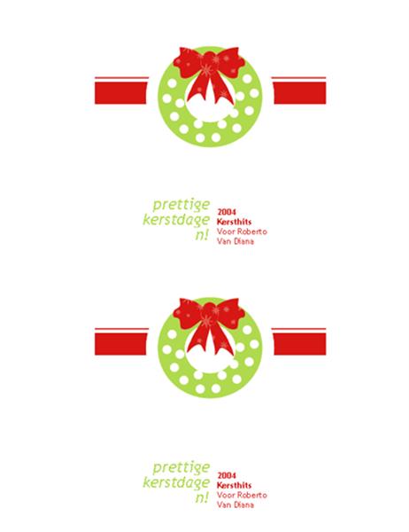 Label voor kerst-cd/dvd (rood geschenkontwerp, geschikt voor Avery nr. 5692, 5931, 8692, 8694 en 8965)