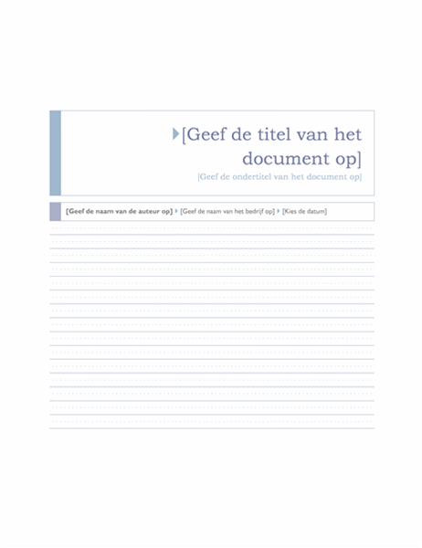 Rapport (thema Origin)