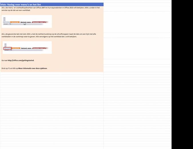 Visio 2010: naslagwerkmap voor menu's en het lint