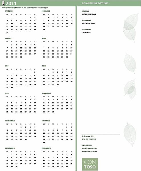 Kleine zakelijke kalender (willekeurig jaar, ma-zo)