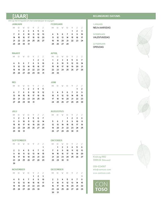 Bedrijfskalender voor kleinbedrijf (elk jaar, ma-zo)