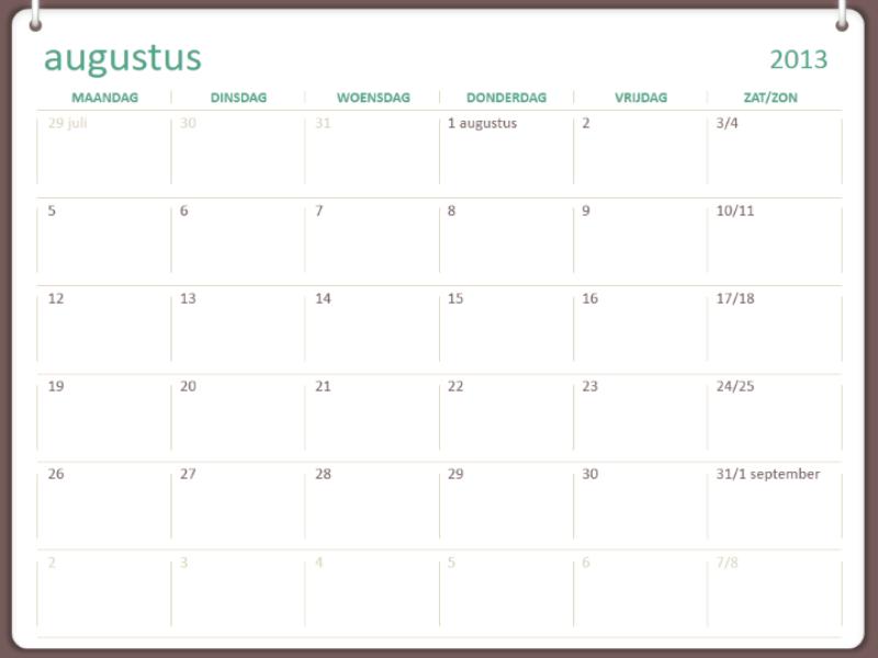 Schoolkalender voor 2013-2014 (augustus)