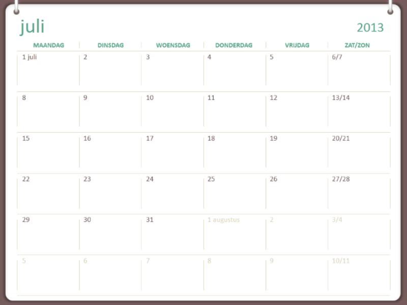 Schoolkalender voor 2013-2014 (juli)