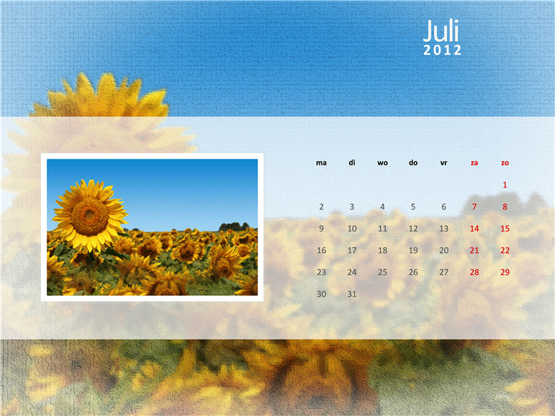 Fotokalender voor 2012 - derde kwartaal