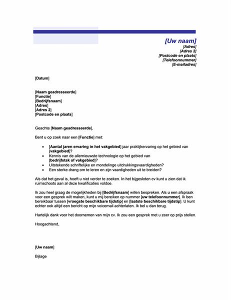 Begeleidend schrijven bij open sollicitatie (motief met blauwe lijnen)
