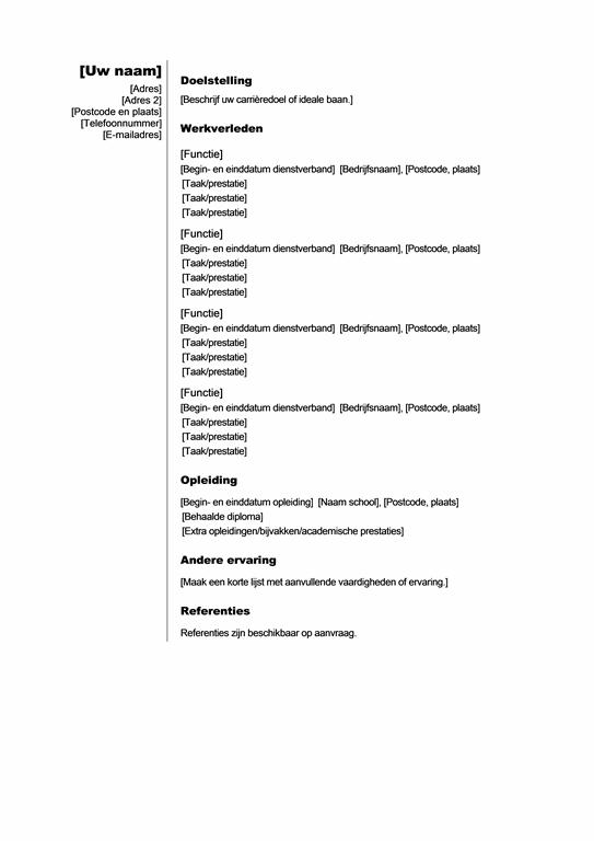 Chronologisch CV (verticaal motief)