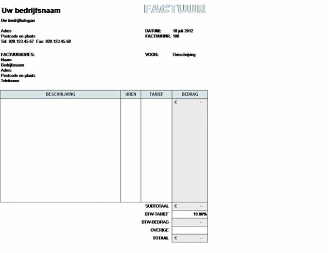 Servicefactuur met berekening van BTW
