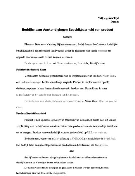 Persbericht met productaankondiging