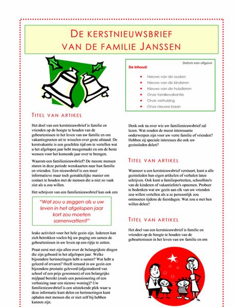 Kerstnieuwsbrief van de hele familie