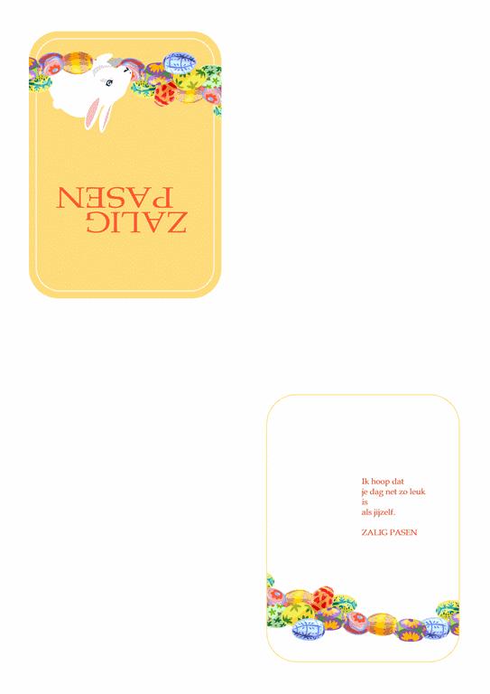 Carte pour Pâques (lapin et oeufs en illustration)