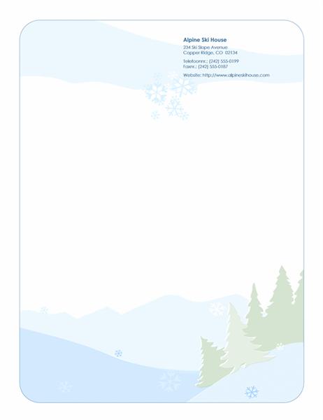 Papier à lettres de fêtes (paysage de neige)