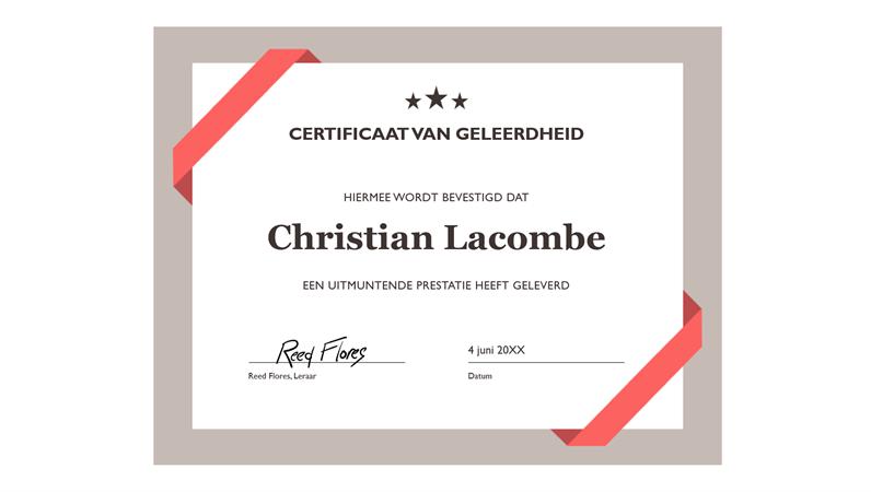 Certificaat van geleerdheid (formele blauwe rand)