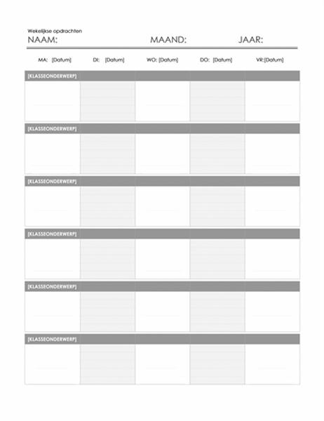 Wekelijkse kalender voor huiswerkopdrachten