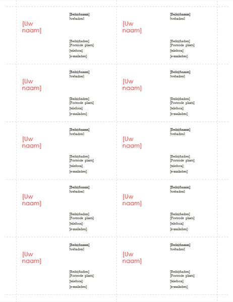Visitekaartjes (rood ontwerp, 10 per pagina)