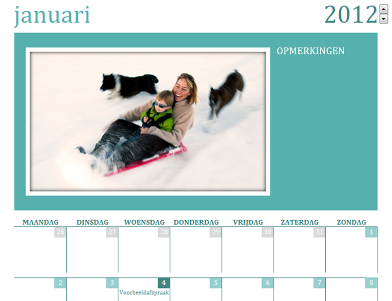 Kalender met gezinsfoto's (ma)