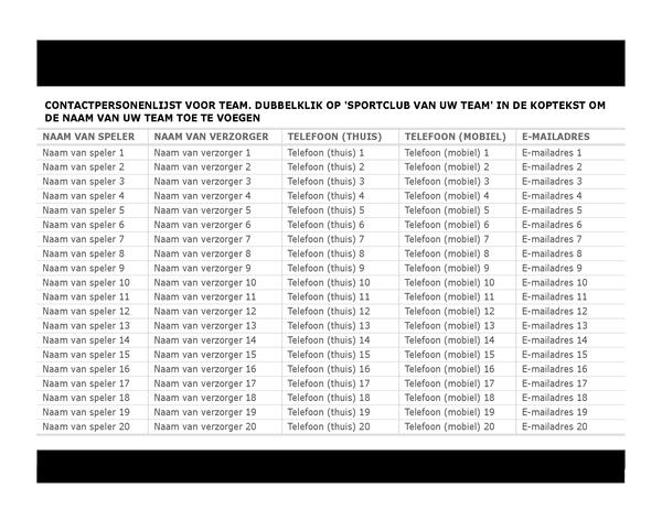 Contactpersonenlijst voor sportteam