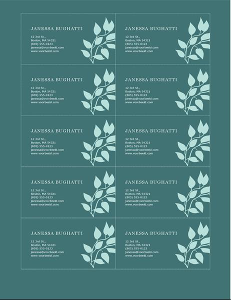 Persoonlijke visitekaartjes met bloemen