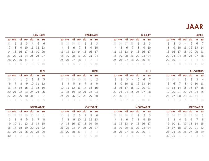 Kalender voor heel jaar