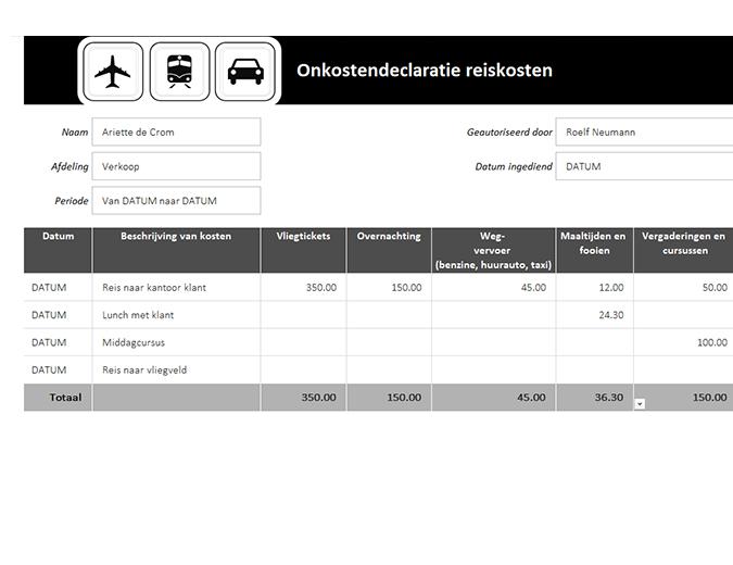 Onkostendeclaratie reiskosten
