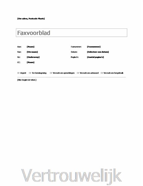 Eenvoudig faxvoorblad