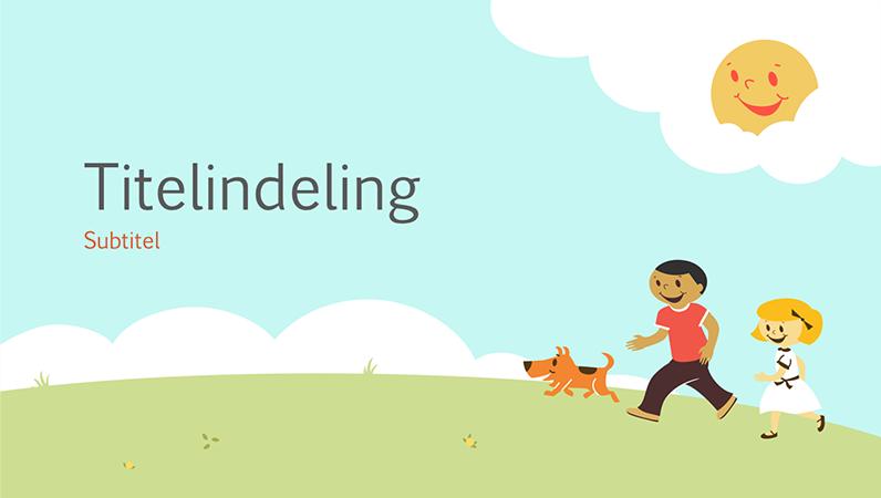 Ontwerp voor onderwijspresentatie met spelende kinderen (getekende illustratie, breedbeeld)