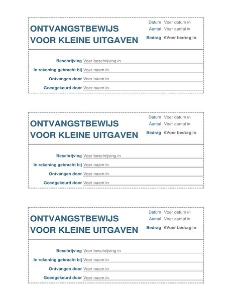 Ontvangstbewijs voor kleine uitgaven (drie per pagina)