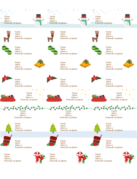 Étiquettes cadeaux (conception Esprit de Noël, 30 par page, pour supports Avery 5160)