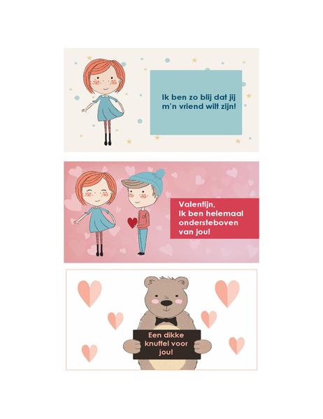 Valentijnskaarten voor kinderen (12 ontwerpen, 3 per pagina)