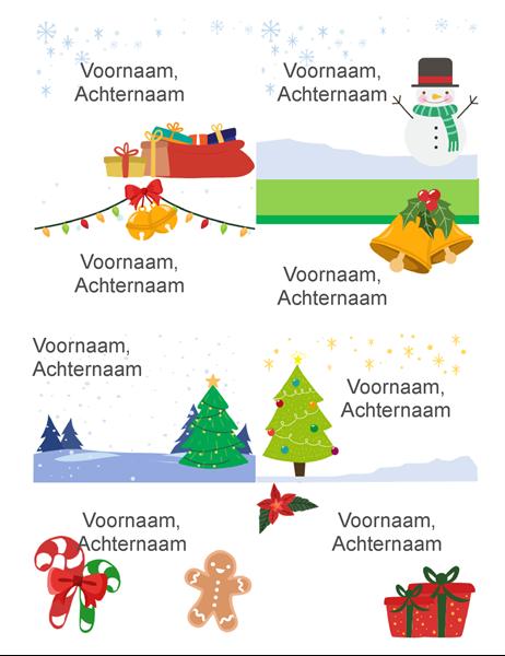 Naambadges feestdagen (8 per pagina, ontwerp Kerstgedachte, compatibel met Avery 5395 en vergelijkbaar)