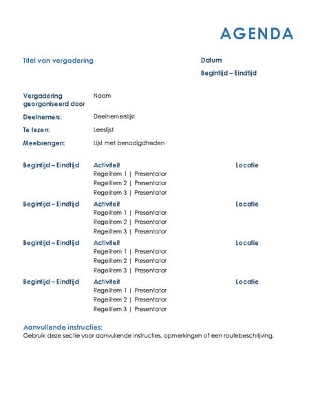 Programme de réunion pour toute la journée (formel)