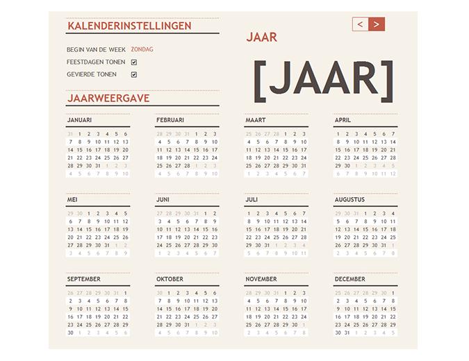 Kalender voor elk jaar met feestdagen