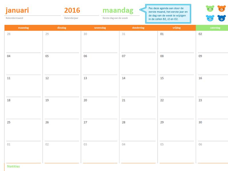 Maandelijkse kalender voor een willekeurig jaar (12 pagina's, ontwerp Troetelbeertjes)