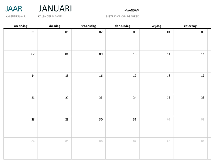Een kalender met één maand in een willekeurig jaar