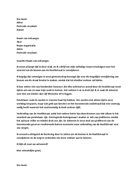 Brief ter ondersteuning aan een lokale overheidsfunctionaris