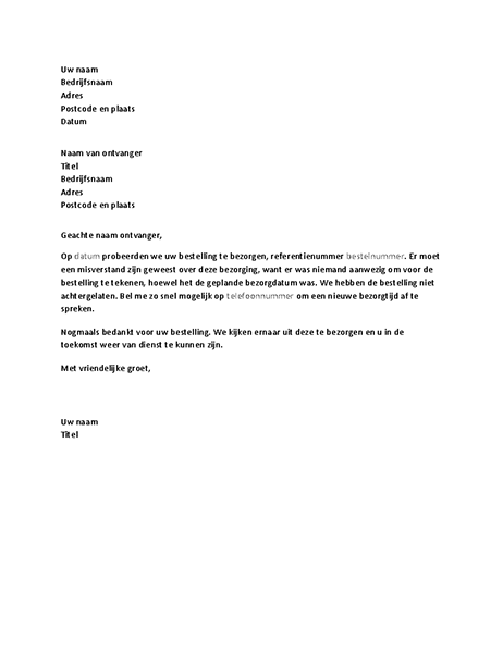 Brief om een klant te informeren over een gemiste bezorging