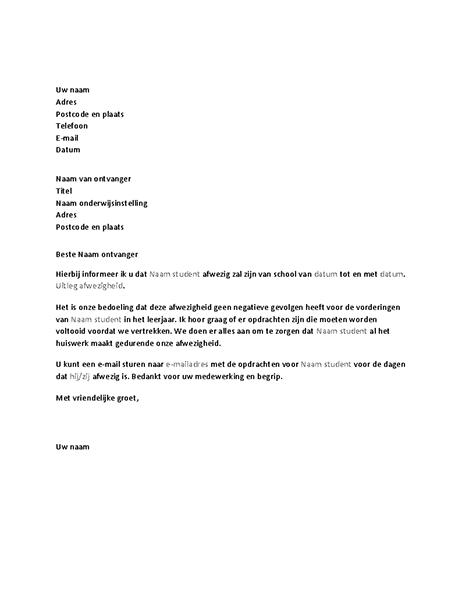 Brief om een school te informeren over komende afwezigheid van een student