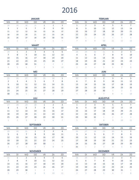 Kalender voor één jaar