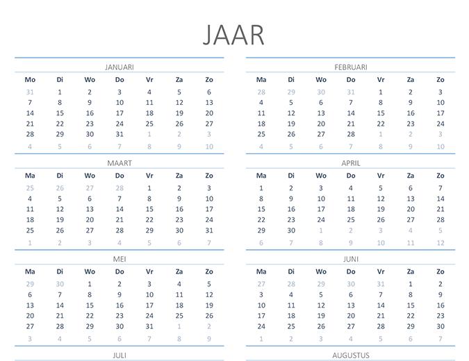 Kalender voor willekeurig jaar (ma-zo)