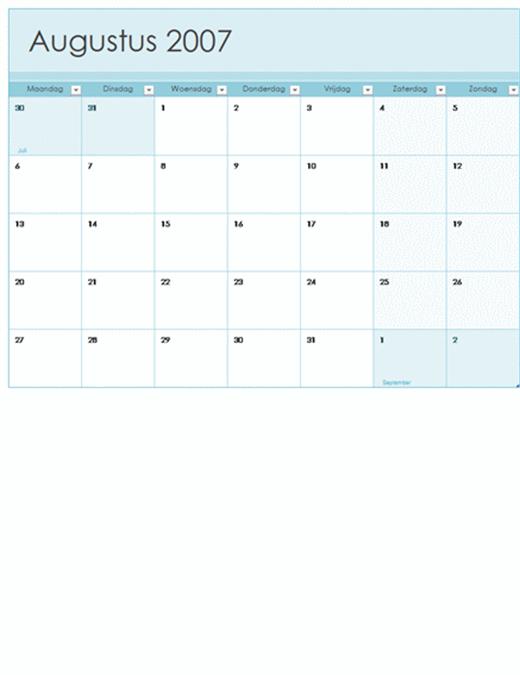 Kalender voor academisch jaar 2007-2008 (13 pagina's, ma-zo)