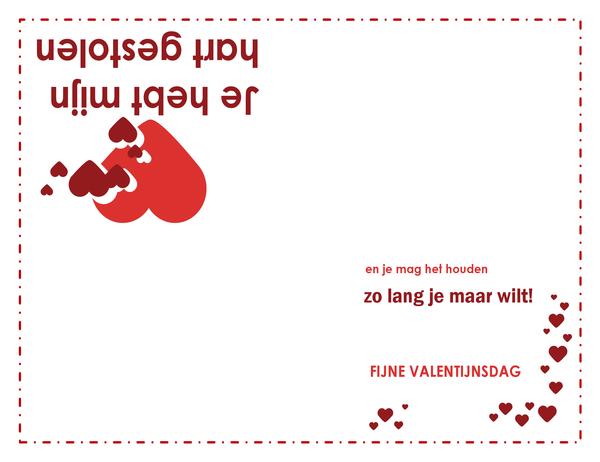 Valentijnskaart (met hart, in vieren gevouwen)